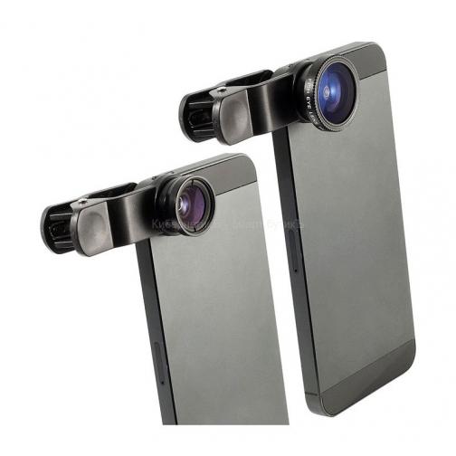 3 в 1 набор линз для смартфонов FishEYE, Wide, Macro-1242166