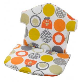 Вставка для стула Geuther Мягкая вставка для стульчика Swing бело-оранжевый с птичками и кружками (цвет 126)-1962626