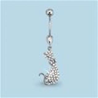 Пирсинг из серебра с фианитом АКВАМАРИН 70599А