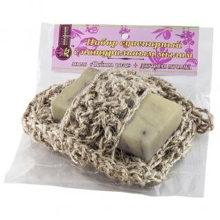 Мочалка с мылом Чайная роза из джута-4957667