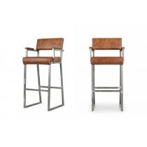 Барный стул Индастриал-2 Натуральная кожа Олд когнак