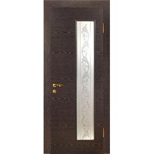 Дверное полотно МариаМ Альфа ПУ лак остекленное 600-900 мм Черный абрикос