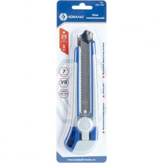 Нож технический лезвия 25 мм., двухкомпонентных корпус КОБАЛЬТ-5731396