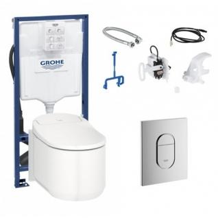Готовый комплект для туалета Grohe Sensia Arena: подвесной унитаз-биде с инсталляцией установочным набором и панелью 124846-6758166
