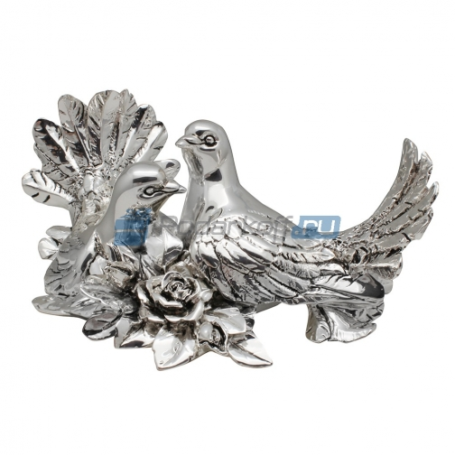 Пара голубей с розами, посеребрение-763559