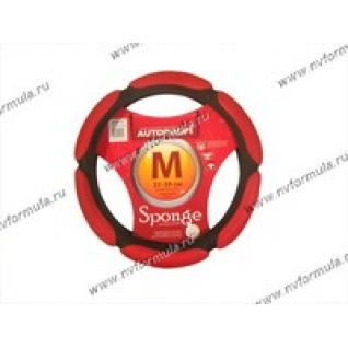 Оплетка на руль Sponge M d37-39см SP-5026 BK/RD черная/красная-432568