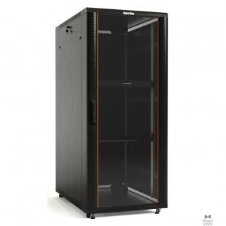 Hyperline Hyperline TTB-2266-AS-RAL9004 Шкаф напольный 19-дюймовый, 22U, 1166x 600х 600 мм, передняя стеклянная дверь со стальными перфорированными боковинами, задняя дверь сплошная, ручка с замком (5 мест)-8937708