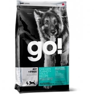 GO! NATURAL Holistic GO! Корм беззерновой для Собак всех возрастов - 4 вида мяса: Индейка, Курица, Лосось, Утка (Fit + Free Grain Free All life Stages) 11,35 кг.