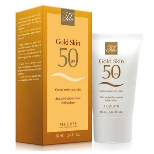 Tegoder Gold Skin SPF-50 - Солнцезащитный крем для лица SPF-50 с тонирующим пигментом-4942034