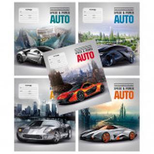 Тетрадь школьная А5,12л,клетка Futuristic cars ТШ12К9566/UV/6 5видов-40111335