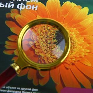 Лупа золото с коричневой ручкой увеличение х6, диаметр 50мм, карт/кор.