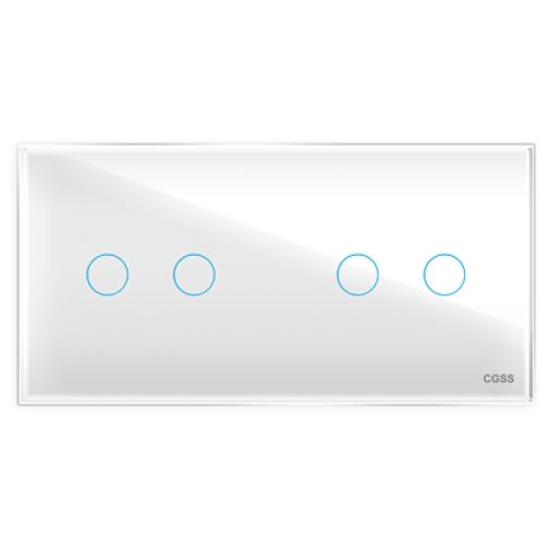 Четырехлинейная панель стеклянная белая на два поста cgss wt-p04w-5998629
