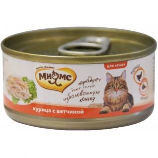 Мнямс Мнямс консервы для кошек Курица с ветчиной в нежном желе 70 г