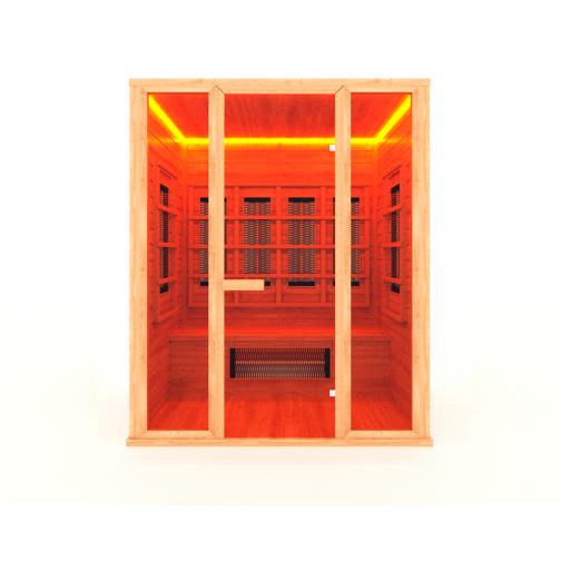 Инфракрасная сауна 3 - местная со стеклянной дверью и двумя стеклянными вставками-6012523