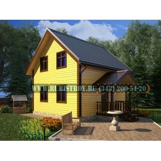 Дачный дом по проекту СТТ-10, из обрезного бруса сечением 150 х 150 мм., площадь 87,0 кв.м., размер 7,0 х 7,0 м.