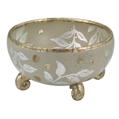Декоративная чаша Flambeau FB/ISABELLA BOWL золотой и зеленая олифа-6853239