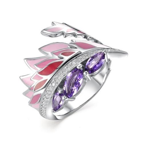Серебряное кольцо с аметистом и эмалью Алькор КЮЗ 01-0356/0М28-00 01-0356/0М28-00 Алькор КЮЗ-8918502