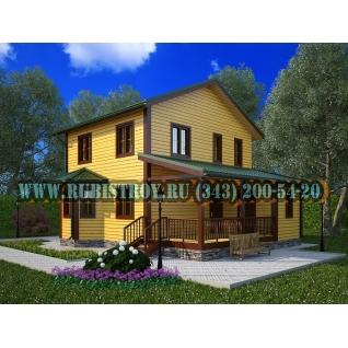 Дачный дом по проекту СТТ-49из обрезного бруса сечением 150 х 150 мм., площадь 120,0 кв.м., размер 9,0 х 10,0 м.