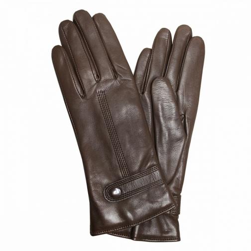 Edmins Перчатки женские кожаные на шерсти Edmins Э-21L мод. 603 коричневый-5992461