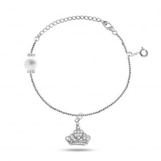 Серебряный браслет с фианитом и жемчугом культ. TEOSA BNCAF22-BR