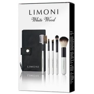 LIMONI Подарочный набор кистей для макияжа WHITE WOOD - 5 кистей + чехол-2147798