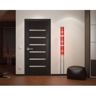 Дверное полотно МариаМ Техно 607 остекленное (белый сатинат) 550-900 мм