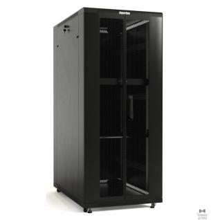 Hyperline Hyperline TTB-3268-AS-RAL9004 Шкаф напольный 19-дюймовый, 32U, 1610x 600х 800 мм (ВхШхГ), передняя стеклянная дверь со стальными перфорированными боковинами, задняя дверь сплошная, ручка с замком-8937706