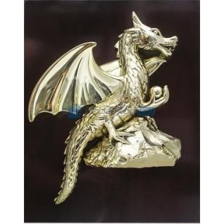 """Панно """"Золотой дракон на скале"""" с позолотой-5865285"""