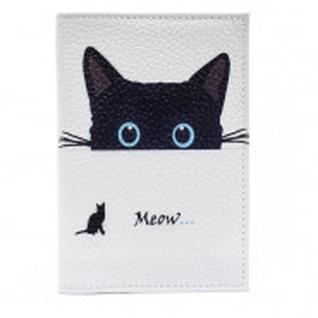 Обложка на паспорт (пластик.поля) Meow 1004