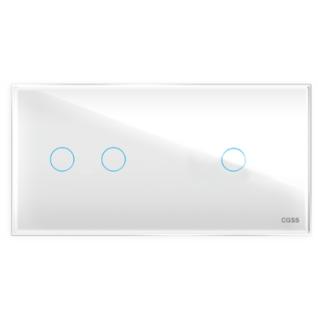 Трехлинейная панель стеклянная белая на два поста 2+1 cgss wt-p03rw