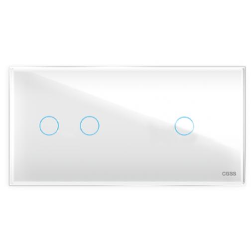 Трехлинейная панель стеклянная белая на два поста 2+1 cgss wt-p03rw-5998634