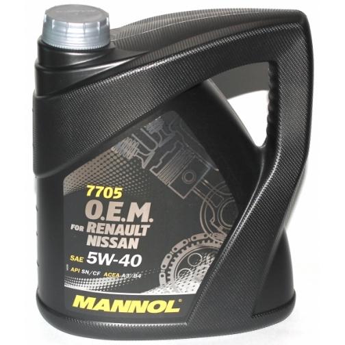 Моторное масло MANNOL 7705 O.E.M. 5W40 4л for Renault Nissan арт. 4036021401515-5921953