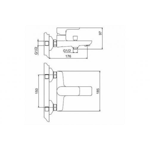 FRAP G3048 белый/хром 35мм Смеситель ванна 37260194