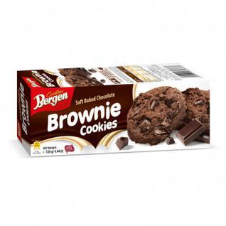 Печенье шоколадное Bergen Брауни с кусочками шоколада, 126г