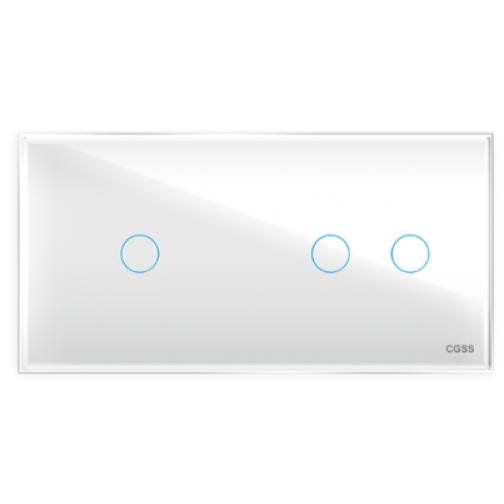 Трехлинейная панель стеклянная белая на два поста 1+2 cgss wt-p03lw-5998639