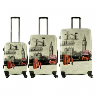 Alezar Комплект пластиковых чемоданов 3в1 Alezar - London (L+M+S)