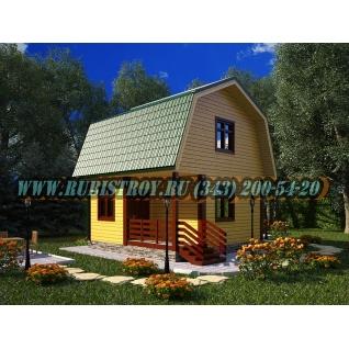 Дачный дом по проекту СТТ-28из обрезного бруса, сечением 150 х 150 мм., площадь 57,0 кв.м., размер 6,0 х 6,0м.