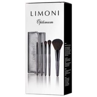 LIMONI Подарочный набор кистей для макияжа OPTIMUM - 5 кистей + чехол серебряный-2147797