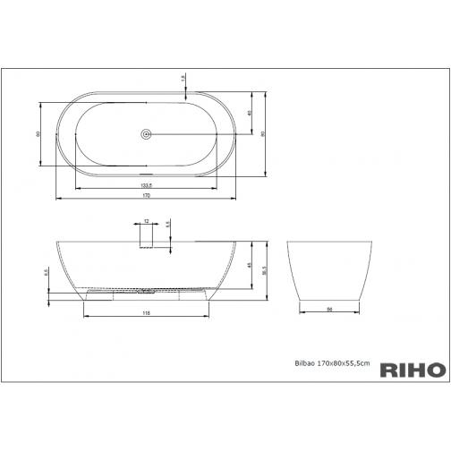 Ванна SOLID SURFACE RIHO BILBAO 170x80 см 6649990 5
