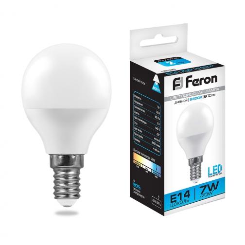 Светодиодная лампа Feron LB-95 (7W) 230V E14 6400K G45-8164278