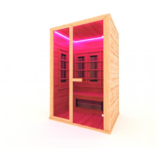 Инфракрасная сауна 2 - местная со стеклянной дверью и одной стеклянной вставкой-6012525