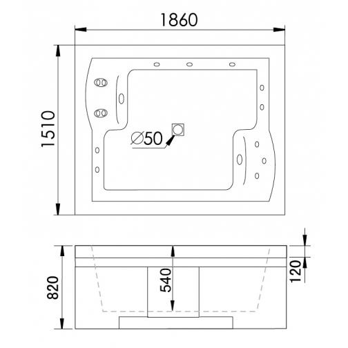 Акриловая ванна Gemy с гидромассажем (G9052-II B) 6817533 6