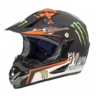Мотошлем Monster черный с оранжевым рисунком-1026083