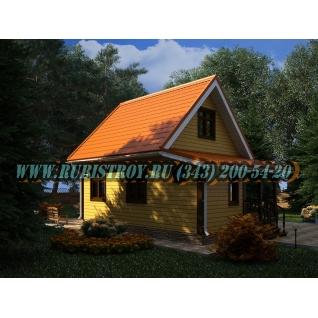 Дачный дом по проекту СТТ-30из обрезного бруса, сечением 150 х 150 мм., площадь 63,0 кв.м., размер 6,0 х 8,0 м.