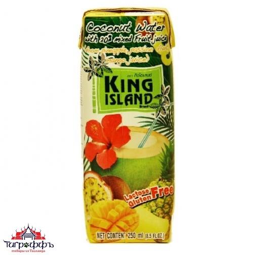 Кокосовая вода King Island с фруктовым соком (ананас, манго, маракуйя) 250 мл.-945244