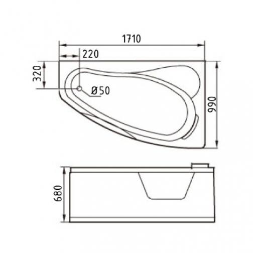 Акриловая ванна Gemy с гидромассажем (G9046-II K) 6817530 2