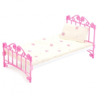 Кроватка Розовая С Постельным Бельем-37798396