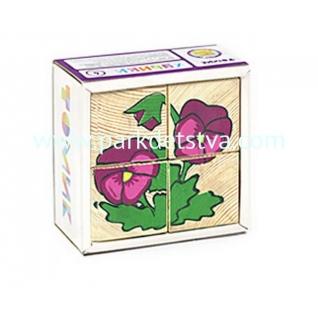 Развивающие деревянные кубики Томик Цветочки 4 штуки-848053