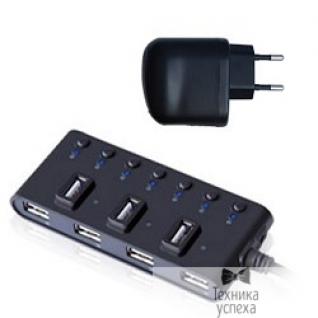 Ginzzu HUB GR-487U(A)B Ginzzu USB 2.0 7 port + adapter-5800389