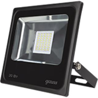 Gauss Прожектор светодиодный Gauss LED 20W IP65 6500К черный 1/16